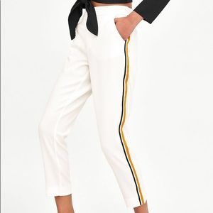 ZARA White Trousers with Gold Stripes